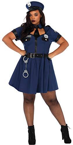 Leg Avenue Women's Flirty Cop Outfit Police Fancy Dress Halloween Plus Size Costume, 1X/2X (16-20)
