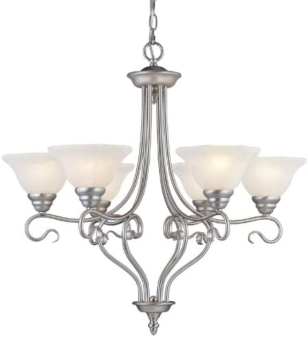 Livex Lighting 6126-91 Chandelier with White Alabaster Glass Shades, Brushed Nickel