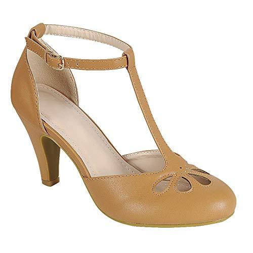 (Women's Mary Jane Retro Round Toe T Strap Teardrop Cut Out Low Kitten Heel Dress Oxford Pumps Tan 10)