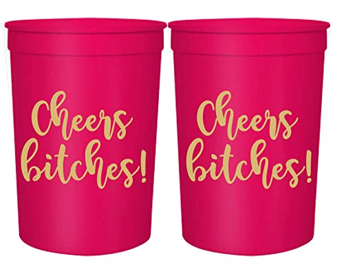 Cheers Bitches! Party Cups, 16oz - Set of 12 Perfect Birthday Party Cups, Bachelorette Party Cups or any Occasion (Pink)