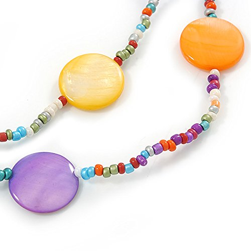 Avalaya Long Multicoloured Coin Shell Bead Necklace - 118cm L 4ew5MRa