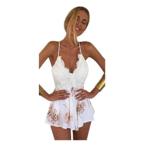 Lolittas Women Lace Printing V Neck Strap Sans Manches Jumpsuit Rompers Playsuit