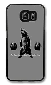 Bear Lifting Weights Quote Polycarbonate Hard Case Cover for Samsung S6/Samsung Galaxy S6 Black Kimberly Kurzendoerfer