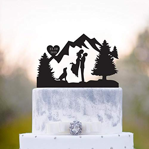 Mountain cake topper with dog,mountain topper with dog,Outdoor cake topper,Mr and mrs with dog cake topper,Mountain wedding cake topper,a76