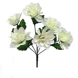 Kampoojoo - Cream Dahlia Flowers Centerpieces Bridal Silk Wedding Bouquets (Set of 12) 83