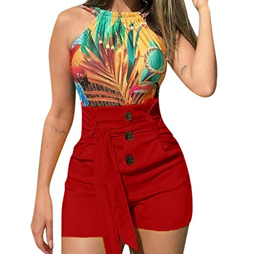 BBesty Save 15% Women's Fashion Sexy Lace Up High Waist Slim Fit Casual Style Belted Beach Shorts Summer Shorts Pants Red