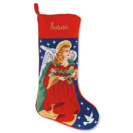 Lillian Vernon Personalized Heirloom Christmas Stocking - Needlepoint Angel, 100% Wool, 9.5