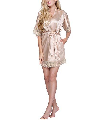 Bridal Lace Robe (Original Kimono Women's Lace-Trimmed Satin Short Kimono Robe Bathrobe Loungewear Champagne S)