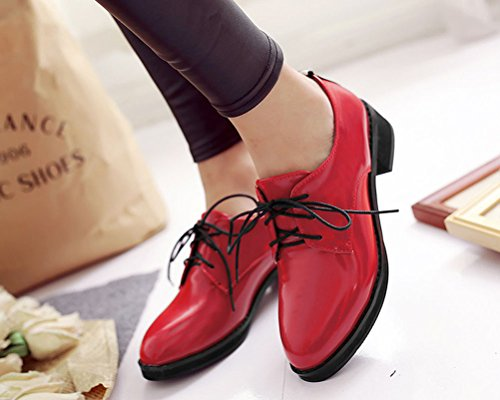 à HiTime Lacets Chaussures Rouge 5 36 Red Femme gnfp7nHqw