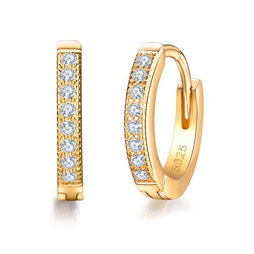 Diamond Small Huggies Earrings - MASOP 14K Gold Plated Sterling Silver Cubic Zirconia Cuff Earrings Small Hoop Huggie Earrings Stud 13mm