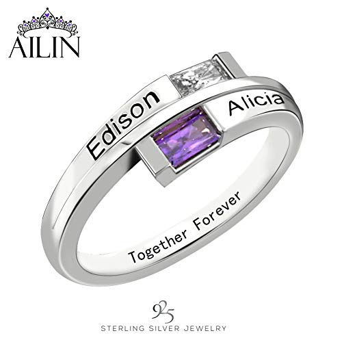 AILIN Personalized Couples Promise Rings for Her Engagement Wedding Rings Women Mothers Mom Rings with 2 Simulated Birthstones Mother's Day Rings for Mom Silver Size 12
