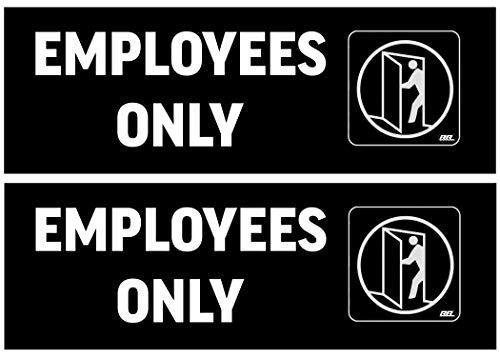 Warning Set Decal - 2 Pack Employees Only Door Sticker Set Sign Warning Vertical 9x3 Inch Vinyl Decal Indoor Outdoor Window Door Business Retail Store