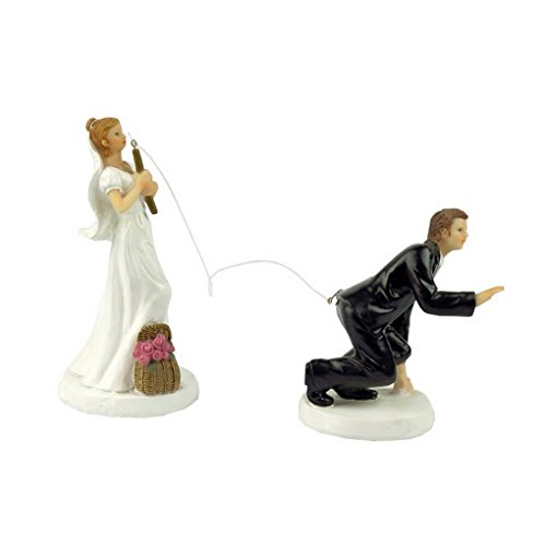 ACME Gone Fishing Interchangeable Bride and Groom Couple Cake Topper