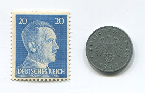 Rare Nazi Swastika 1 Reichspfennig German Coin World War 2 WW2 with Blue Hitler Head Stamp MNH