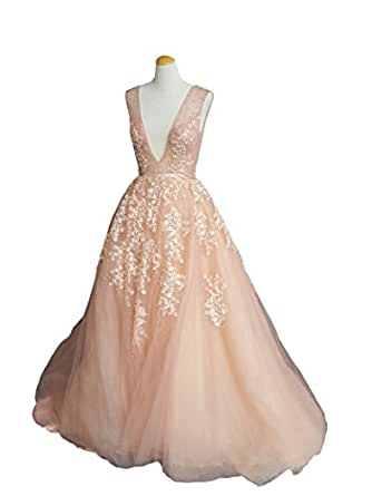 Banfvting Pearls Appliques Long Prom Dress Backless Evening Gown