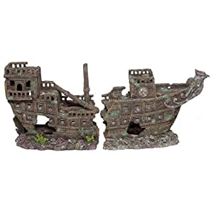 Galleon ship aquarium ornament 2 part for Aquarium decoration ship