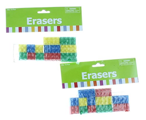 Fun Express Rubber Color Building Block Brick Erasers (48 Pack)