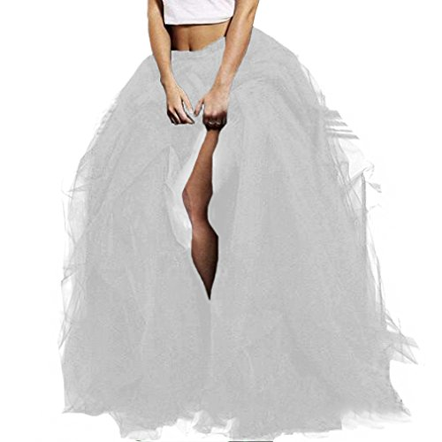 Wedding Planning WDPL Long Women's Special Occasion Slit Tulle Evening Skirt (White, X-Large)