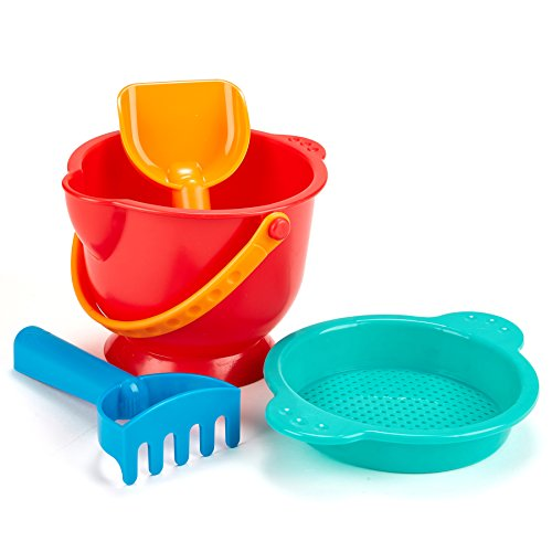 Hape Beach Basics Sand Toy Set Including Bucket Sifter, Rake, and Shovel Toys, Bold