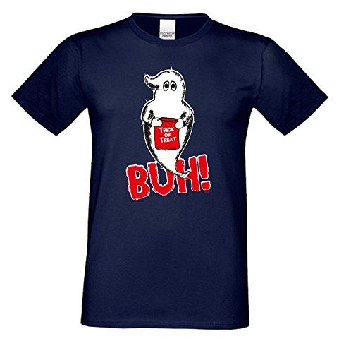 Halloween T-Shirt - Gespenst Trick or Treat Geist Shirt navyblau - gruseliges Motiv Shirt für Leute mit Humor