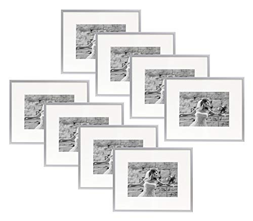 - Golden State Art Set of Eight, 8x10 Silver Aluminum Photo Frame with Ivory Color Mat for 5x7 Picture, Real Glass & Table-top Display, Metal Wall Photo Frame Collection
