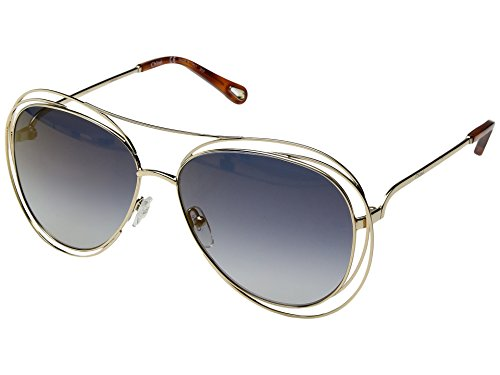 Chloe Women's Carlina - CE134SL Gold/Havana/Flash Blue Lens One - Sunglasses Chemicals Without