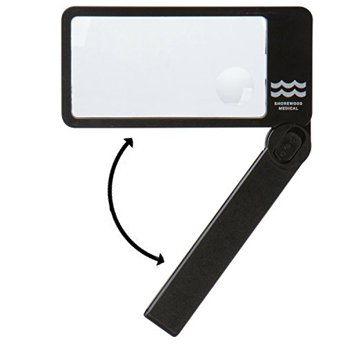 Lighted magnifying glass for reading with bright LED lights, folding handle--easy to store/carry. Rectangular lens- best for reading. Large 2.5X lens with 4X bifocal insert. Carrying case.