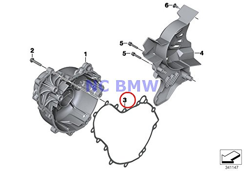 BMW Genuine Motorcycle Engine Housing Cover Right Gasket Right F700GS F800GT F800S F800ST F650GS F800GS F800R F800GS Adventure - Motor Housing Cover