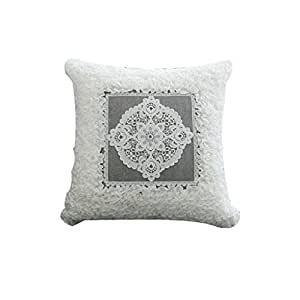 WAN SAN QIAN- Back Cushion Modern simplicity Fiber cotton elegant aesthetic cushions lace cushions square cushions sofa cushions 5050cm Back Cushion ( Color : Gray )
