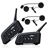 Excelvan 2pcs Motorcycle Intercom Helmet Bluetooth Headset 1.2KM Wireless Motorbike Interphone Connect Up to 6 Riders for Riding and Skiing( V6 )