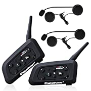 Excelvan V6 BT Motorcycle Helmet Bluetooth 3.0 Intercom Headset 1.2KM Wireless Motorbike Interphone Connect Up to 6 Riders