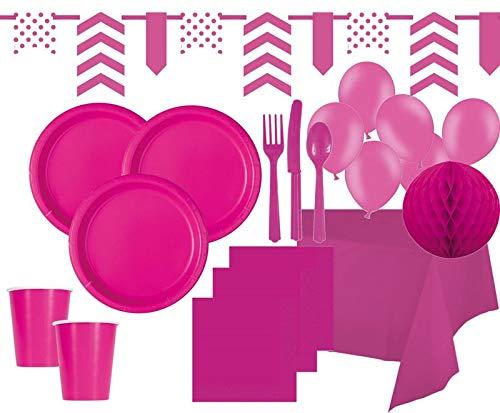 XXL 99 Piezas Party Set Decorativo Neon Rosa para 12 ...