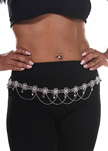 Belly Dance Star Belt with Chains | Flower Bells - Silver