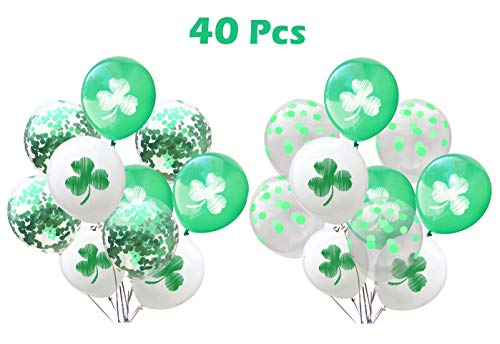 St.Patrick's Day Balloons Decorations - 40 Pcs White Green Shamrock Balloons St Patrick Birthday Decorations Party Supplies Photo Booth Backdrop ()