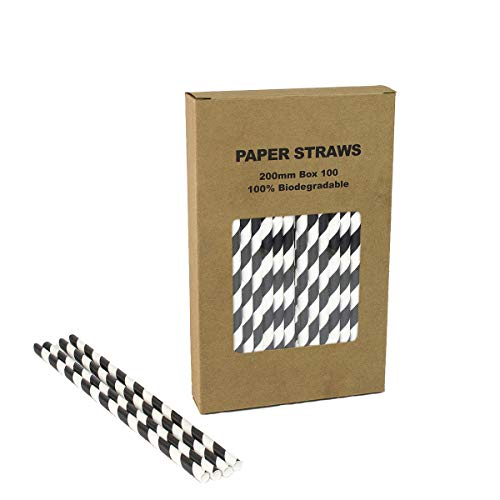 Black Striped Paper Straws - Box of 100-7.75 inches, Biodegradable Paper Sticks for Party DIY, Birthday, Halloween etc.]()