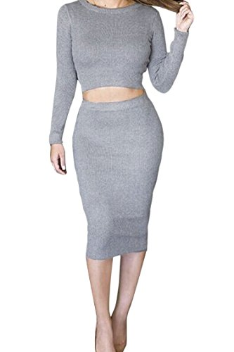 LaSuiveur-Womens-Long-Sleeve-Crop-Top-and-Skirt-Two-Pieces-Bodycon-Midi-Dress