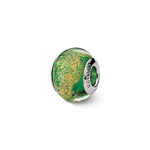 925 Sterling Silver Charm For Bracelet Green/gold Italian Murano Bead Glas Fine Jewelry For Women Gift Set (Beads Murano Green Pugster)