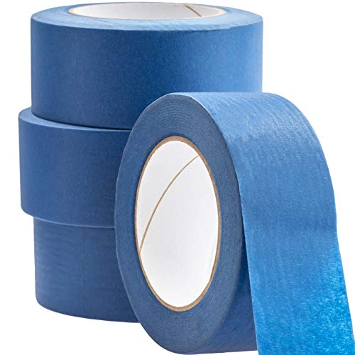 No-Residue 2 Inch, 60 Yard Blue Painters Tape 4 Pk. Easy-Tear, Pro-Grade Removable Masking Tape Great for Home, Office or Commercial Contractor. Clean, Drip-Free Painting with Wide Crepe Paper ()