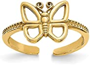 14k Yellow Gold Butterfly Adjustable Cute Toe Ring Set Fine Jewelry For Women Gifts For Her