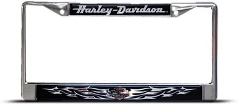 Harley Davidson Metal Heavy Duty Flames License Plate Frame Tag Holder
