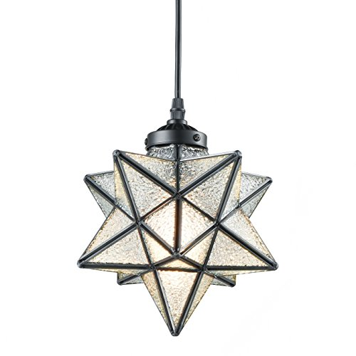 Moroccan Star - YOBO Lighting Moravian Star Textured Glass Pendant Lamp 1 Light Hanging Chandelier, 8-In