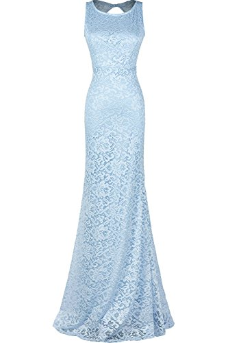 Absolute Rosy Women's Sleeveless Relaxed Lace Maxi Prom Evening Dress Blue S (Dance Dresses For Tweens)