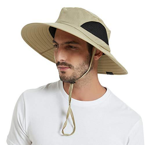 EINSKEY Sun Hat for Men/Women, Summer Outdoor Sun Protection Wide Brim Bucket Hat Waterproof Breathable Packable Boonie Hat for Safari Fishing Hiking Beach Golf (Kayak Hat)