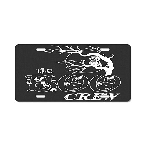 (YEX Abstract The Boo Crew Halloween License Plate Frame Car Licence Plate Covers Auto Tag Holder 6