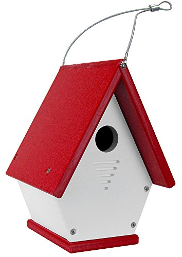 JCs Wildlife White/Cardinal Red Wren Chateau Birdhouses, Eco-Friendly (Recycled Plastic Lumber)