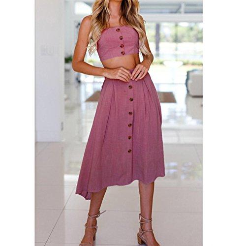 Plage Bowknot de Deux Bovake Pices Lace Boutons Femmes Up Vif Femme Rose Vacances Robe Robe nqqaBvp0