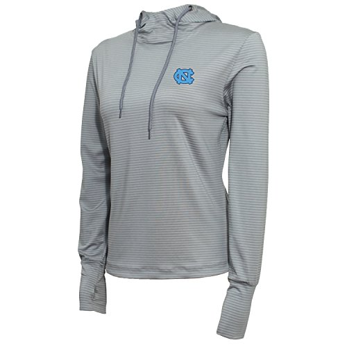 NCAA North Carolina Tar Heels Women's Stripe Drawstring Hoodie, X-Large, Platinum