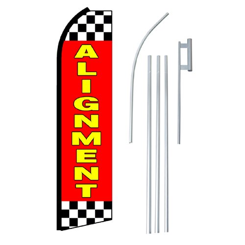 "NEOPlex - ""Alignment"" Complete Flag Kit - Includes 12' Swooper Feather Business Flag With 15-foot Anodized Aluminum Flagpole AND Ground Spike"