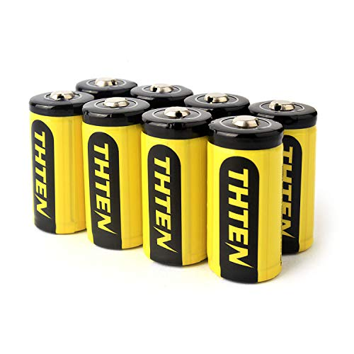 RCR123A Rechargeable Batteries,Thten CR123A Lithium Battery 3.7V 750mAh RCR123A Li-ion for Arlo Wireless Security VMK3200 VMC3030 VMS3330/3430/3230/3530,8 Pack