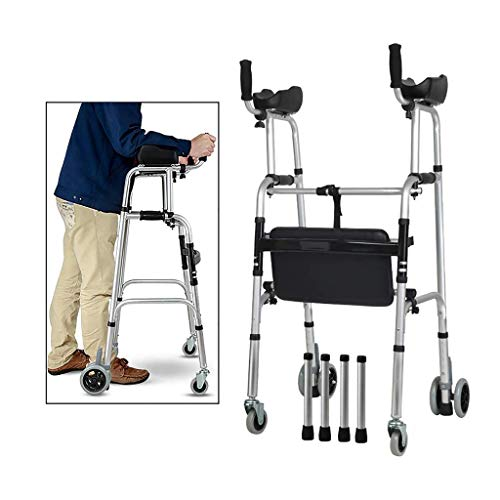 FKDEWALKER Aluminium Foldable Walking Frame,Wheeled Walker with Arm Re
